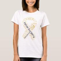 Fetal Surgery Spina Bifida Text Ribbon T-Shirt