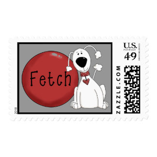 Fetch! Funny Dog Cartoon Postage