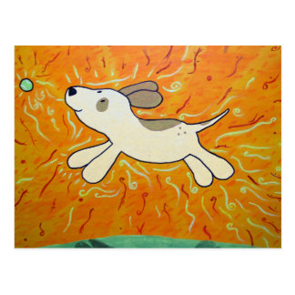 Fetch is Bliss Dog Painting Postcard