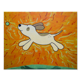 Fetch is Bliss Dog Painting Print