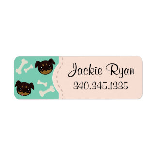 Fetching Cute Rottweiler Puppy & Bones Pattern Label