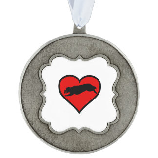 Fetching Golden Retriever Heart Love Dogs Pewter Ornament