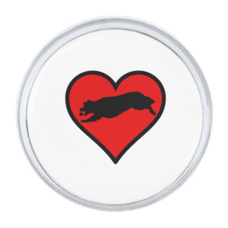 Fetching Golden Retriever Heart Love Dogs Silver Finish Lapel Pin