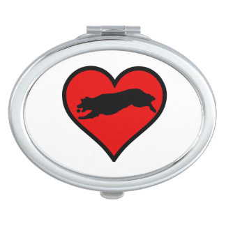 Fetching Golden Retriever Heart Love Dogs Vanity Mirror