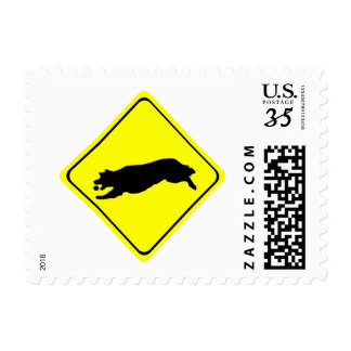 Fetching Golden Retriever Warning Sign Love Dogs Postage