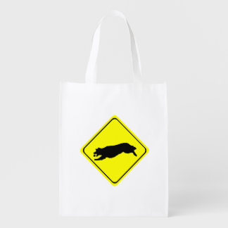 Fetching Golden Retriever Warning Sign Love Dogs Reusable Grocery Bag