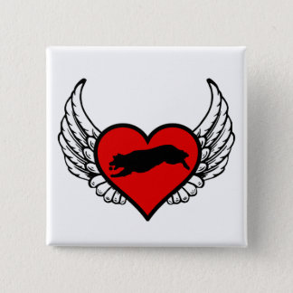 Fetching Golden Retriever Winged Heart Love Dogs Button