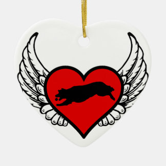 Fetching Golden Retriever Winged Heart Love Dogs Ceramic Ornament
