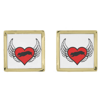 Fetching Golden Retriever Winged Heart Love Dogs Gold Cufflinks