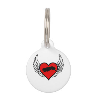 Fetching Golden Retriever Winged Heart Love Dogs Pet ID Tag