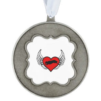 Fetching Golden Retriever Winged Heart Love Dogs Pewter Ornament