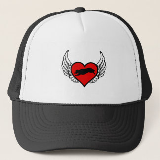Fetching Golden Retriever Winged Heart Love Dogs Trucker Hat