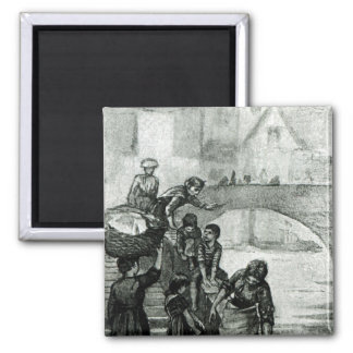 Fetching Water from the River 2 Inch Square Magnet