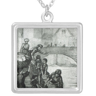 Fetching Water from the River Silver Plated Necklace