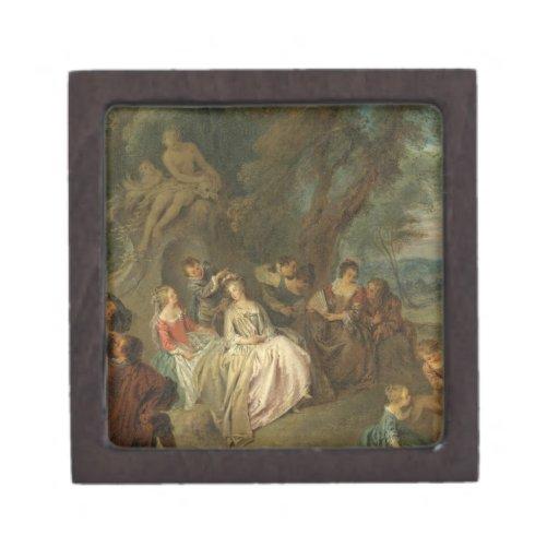 Fête Champêtre, C. 1730 (aceite en lona) Cajas De Recuerdo De Calidad