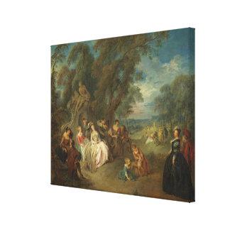 Fête Champêtre, c. 1730 (oil on canvas) Canvas Print