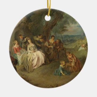 Fête Champêtre c 1730 oil on canvas Christmas Ornament