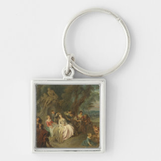 Fête Champêtre, c. 1730 (oil on canvas) Silver-Colored Square Keychain