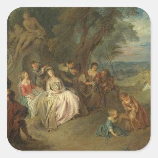 Fête Champêtre, c. 1730 (oil on canvas) Square Sticker