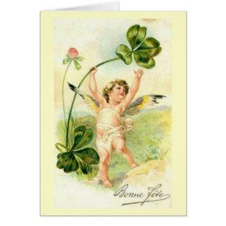 Fete de Bonne/día de fiesta feliz - tarjeta del vi