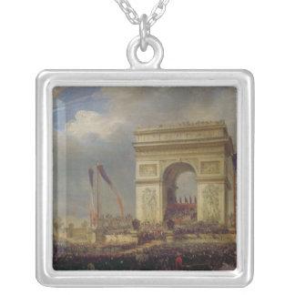 Fete de la Fraternite at the Arc de Triomphe Square Pendant Necklace
