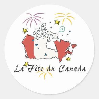 Fête du Canadá Pegatina Redonda