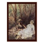 Fêtes Galantes Detail By Watteau Antoine Postcards