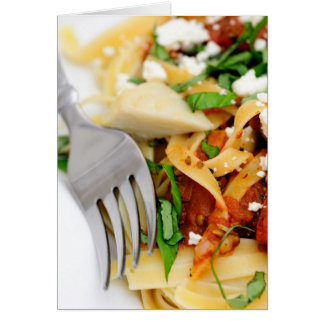 Fettuccini With Roasted Tomato And Basil Greeting Card