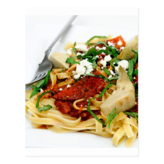 Fettuccini With Roasted Tomato And Basil Postcard