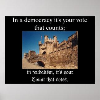Feudalismo contra democracia póster