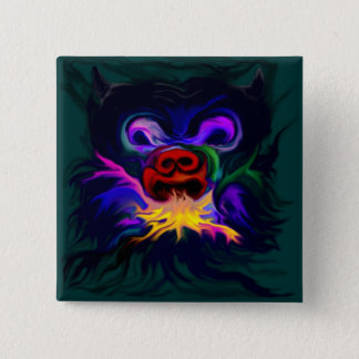 Feuerspuckender Psycho monster face Pinback Button
