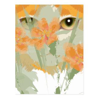 Feuillage de Chat Orange et Blanc Peeper Postcard