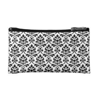 Feuille Damask 2Way Rpt Pattern Black & White Makeup Bag