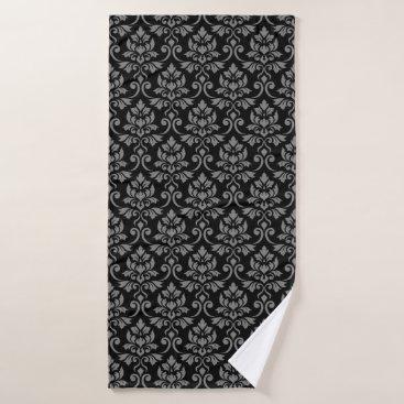 Feuille Damask Pattern Black on Gray Bath Towel