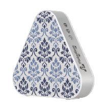 Feuille Damask Pattern Blues on Cream Bluetooth Speaker