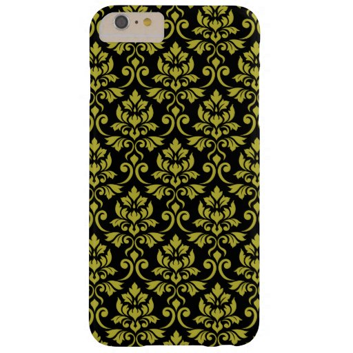 Feuille Damask Pattern Gold on Black Barely There iPhone 6 Plus Case
