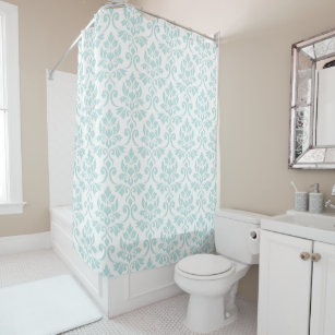 Feuille Damask Pattern Light Teal On White Shower Curtain