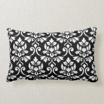 Feuille Damask Pattern White on Black Lumbar Pillow
