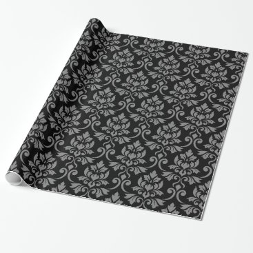Feuille Damask Rpt Pattern Gray on Black Wrapping Paper