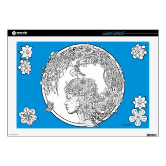 """Fey Flower: DIY Adult Coloring by Sonja A.S. Skins For 17"""" Laptops"""