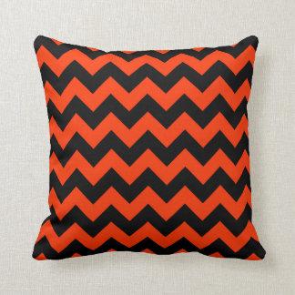 FF3300 Orange Zigzag Stripes Throw Pillow
