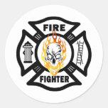 FF Flaming Skull Classic Round Sticker