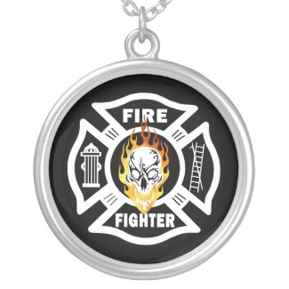 Firefighting Flaming Skull Custom Jewelry