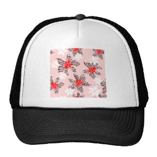 FFD5D53D0000FF FLORAL FLOWERS PINK RED BROWN WHITE MESH HAT