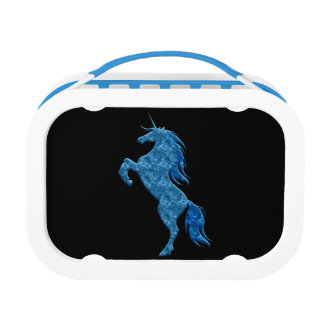 Fiambrera azul del unicornio del fuego