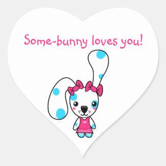 Fiambrera linda del conejo pegatina corazón personalizadas