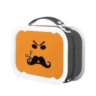 Fiambreras de encargo sonrientes del bigote enojad
