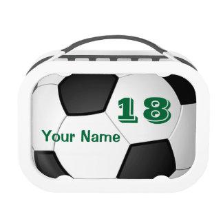 Fiambreras del fútbol para los niños con NOMBRE y