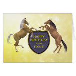 Fiance, a birthday card with rearing horses