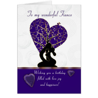 fiance birthday card modern design, purple and whi